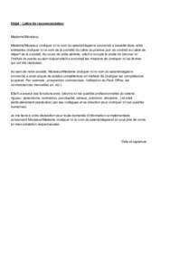 Exemple de lettre de recommandation professionnelle - Hellosafe.ca